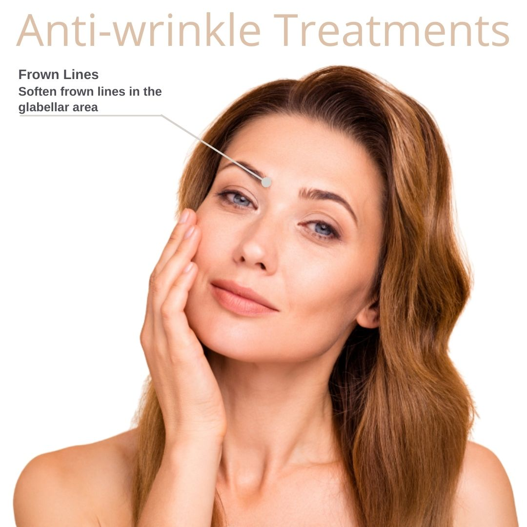Frown Line Pointed out only on Anti Wrinkle Treatment facial map by Medical Injectables Wollongong and Orange